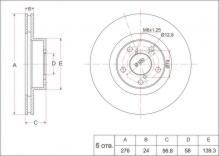 Тормозной диск передний 276мм SUBARU Forester 2.0-2.5\Impreza\Legacy 2.0-3.0\Outback 2.5