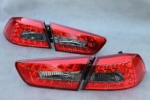 Фонари задние\комплект Mitsubishi Lancer X (2007-) светодиодные, красные\тонированные