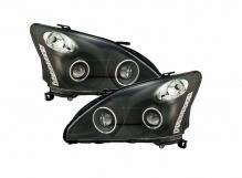 Комплект фар / тюнинг Lexus RX330 (2003-2009) темные / с линзами / ангельские глазки